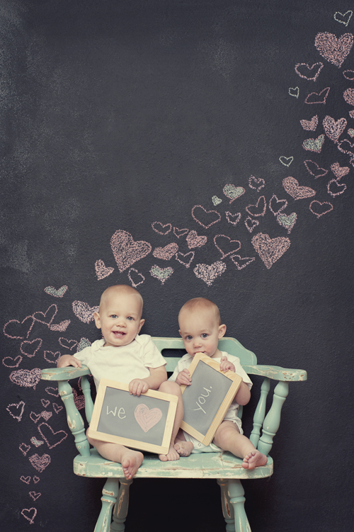 valentines day babies, chalkboard wall, hearts, twins with hearts